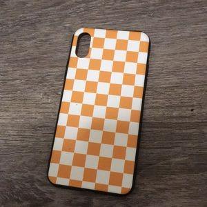 6/$15 iPhone X orange checkered case